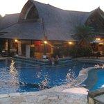 Swim up bar at dusk