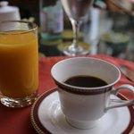 mango juice and cup of joe