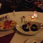 Desserts- fruit plate and profiteroles