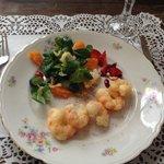 Taleggio tempura jumbo shrimps (mazzancolle)