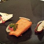 starters of salmon , mushrooms and onion