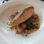 Salmon on wilted spinach