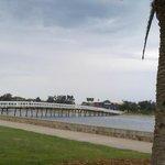 Bridge crossing the Lake to the Beach