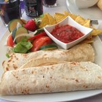 Chilli and cheese wraps with tortilla chips, salsa and salad! DIVINE!