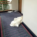 Sheets and towels thrown into corridor by maids and left for hours.