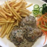 Delicious stuffed chicken with minced pork meat, mushrooms&onions in mushrooms sauce,chips