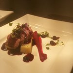 Venison fillet with beetroot puree, mini fondant potatoes, wild mushrooms and blueberry jus