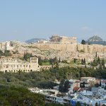 View from Filopappou Hill of the Acropolis and Mt Lycabettus beyond