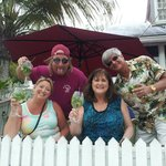Our gang at the railing on Duval St. Nice size Mojitos!!