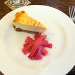 Baked cheesecake and poached rhubarb