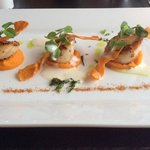 delicious. seared scallops with carrot puree and cumin froth