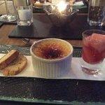 Creme Brulee with rhubarb and lemon biscotti