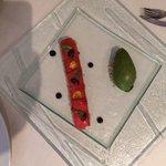 Tomate confit chèvre et tapenade sorbet basilic