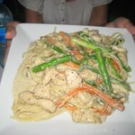 Linguine in a cream sauce peppers asparagus