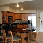 Huge kitchen area with full size fridge!