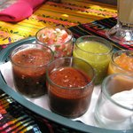Amazingly fresh salsas - so many choices! From mild to super hot.