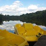 magnifique étang privé avec pontons et pédalos à disposition :)