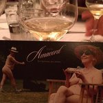 dessert wine and postcard from Amacord