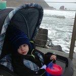 Our son enjoying morning stroll...
