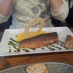 Sea Bass with Saffron and Pesto risotto