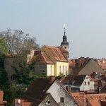 Stiegenkirche in der Sporgasse 21, aufgenommen von Dachterrasse Kastner&Oehler Restaurant Freibl
