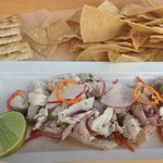 Ceviche served on the beach (in a tray, so you can balance on your lap!)