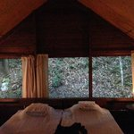 Inside the tent cabin