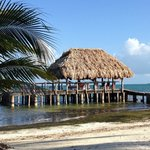 The boat dock on the breezy side of the island