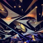 Artistic ceiling treatment in ballroom