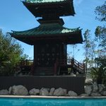 historic pagoda at pool