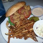 Shrimp po'boy is perfectly fried and has a homemade sauce. Yum!