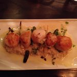 scallops with risotto and white asparagus
