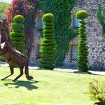 topiary and statue