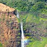 Waterfall making rainbow