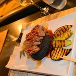Meat in lava stone