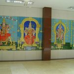 Colourful images of the Gods on the corridor walls