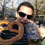 Giant Pretzel & beer in the park