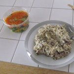 lunch: mushroom risotto, came with salads