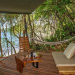 The lounging platform at a Promontory Tented Suite