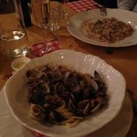 risotto and pasta with mussels on white vine