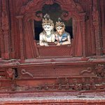 Detail on facade of temple in Durbar Square