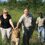 Lunda and I with a lion