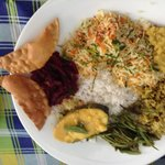 Fish curry, beetroot curry, dhal, jackfruit curry, string bean curry and pappodam.