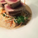 yellowfin tuna, mushroom soup, lomein