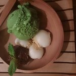 Green tea mochi.. Actually the green tea brulee is way better, but I ate too deliciously and did