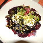 Red beets with goat. Wonderful appetizer.