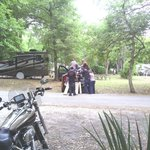 Unloading our bikes at the campground