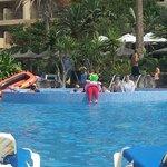 Entertainment team in pool