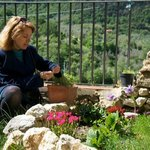 Convivio Rome : Sally gathering herbs before our class