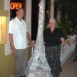 In front of restaurant - a mini Eiffel Tower